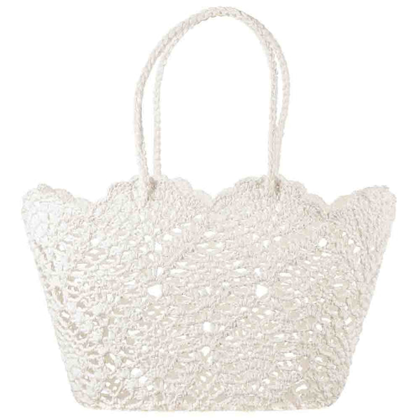 White Cotton Crochet Tote Bag