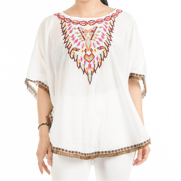 Embroidered White Cotton Poncho