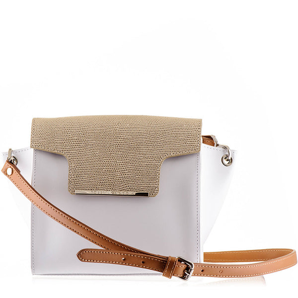 White and Gold Calf Leather Shoulder Bag