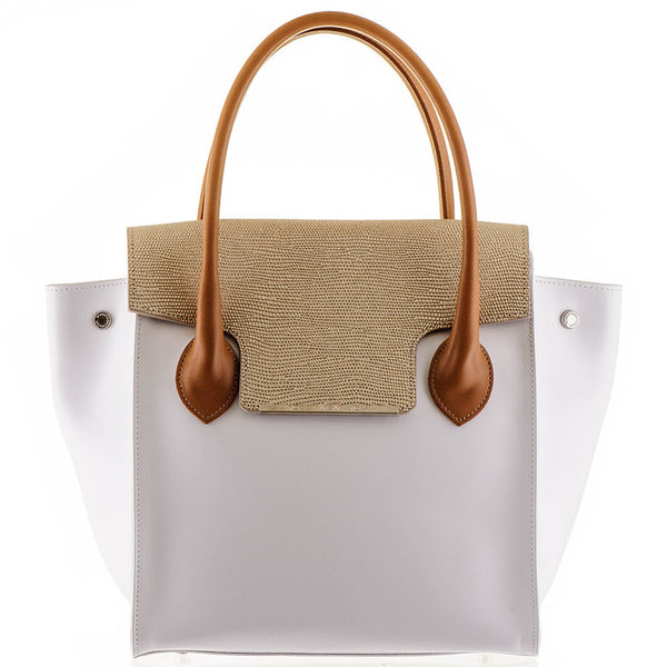 White and Gold Calf Leather Tote