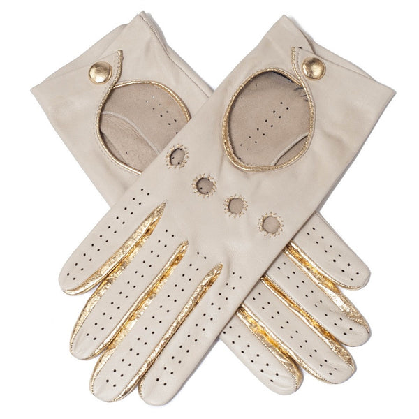 Supersoft Cream and Gold Nappa Leather Driving Gloves
