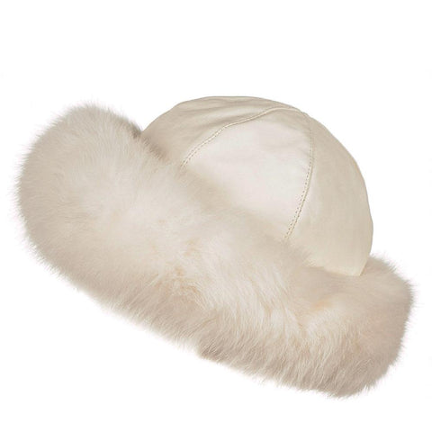 Ivory Leather and Fur Hat