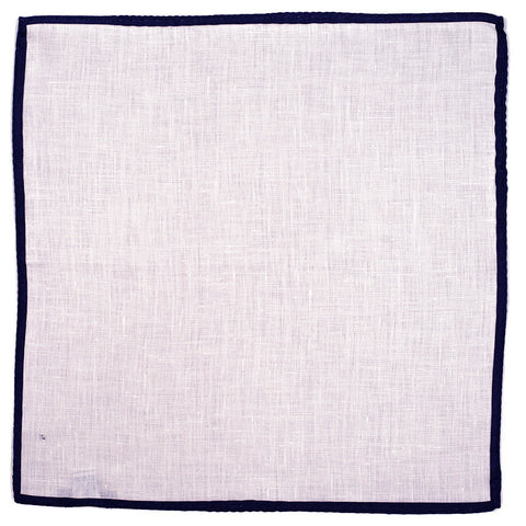 White and  Navy Linen Pocket Square