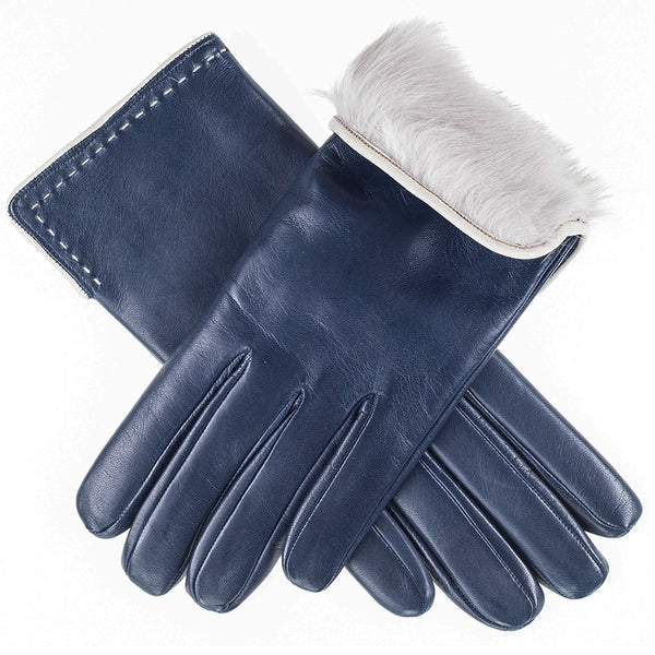 Navy Blue and Ivory Rabbit Fur Lined Leather Gloves
