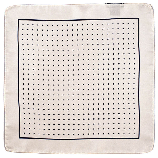 White and Navy Polka Dot Italian Silk Pocket Square