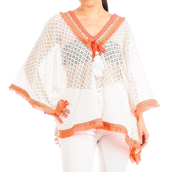Hot Orange and White Cotton Kaftan Top