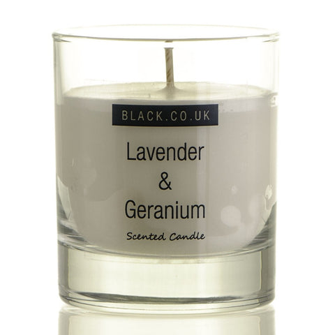 Lavender and Geranium Scented Candle - Clear Glass
