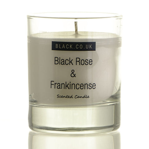 Black Rose and Frankincense Scented Candle - Clear Glass