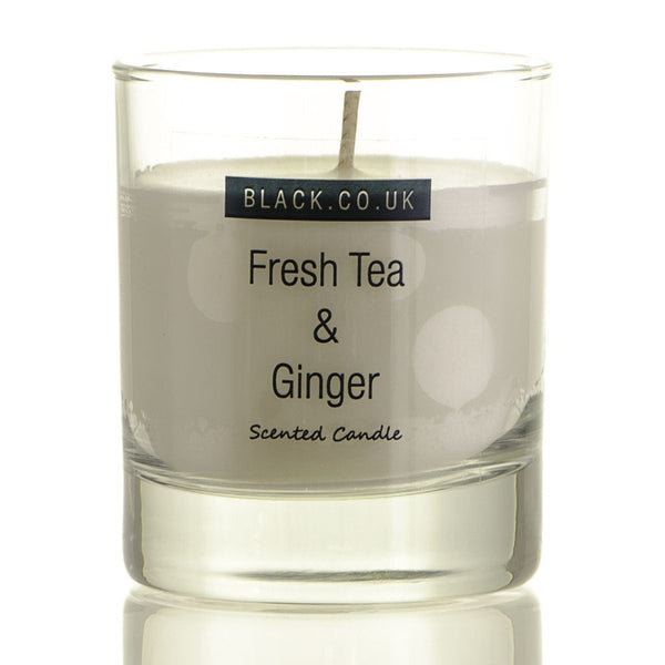 Fresh Tea and Ginger Scented Candle - Clear Glass