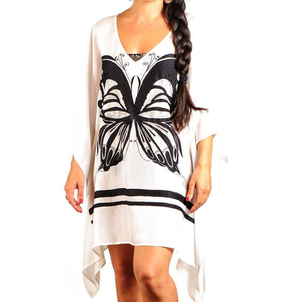 Black and White Butterfly Silk Kaftan