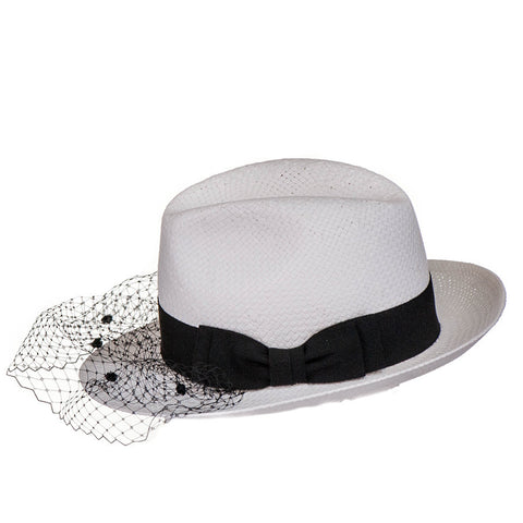 White Trilby Hat with Veil