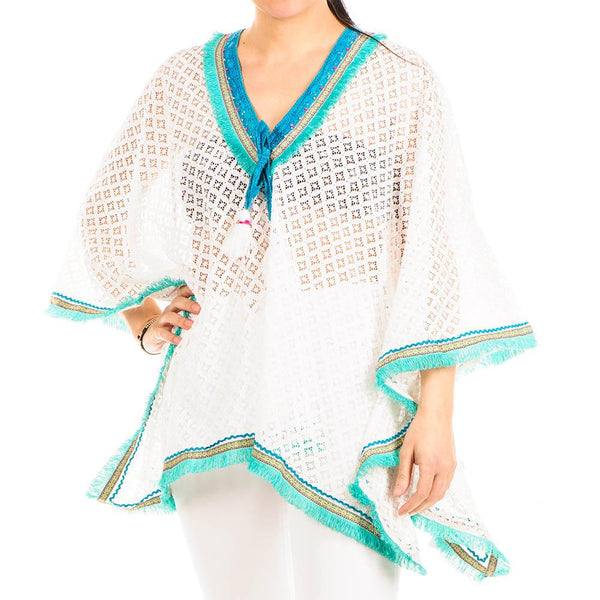 Turquoise and White Cotton Kaftan Top
