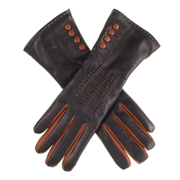 Black and Tan Leather Gloves with Button Detail - Cashmere Lined
