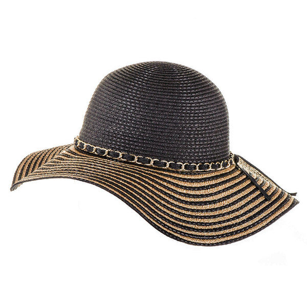 Black and Gold Striped Sun Hat
