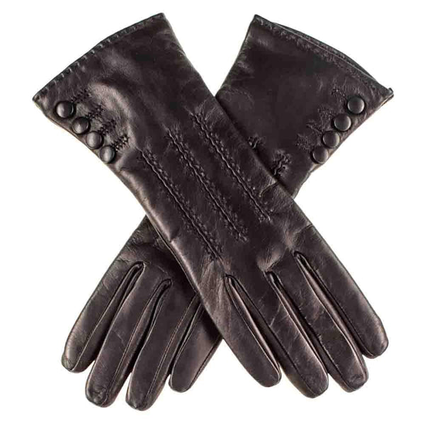 Black Leather Gloves with Button Detail - Cashmere Lined