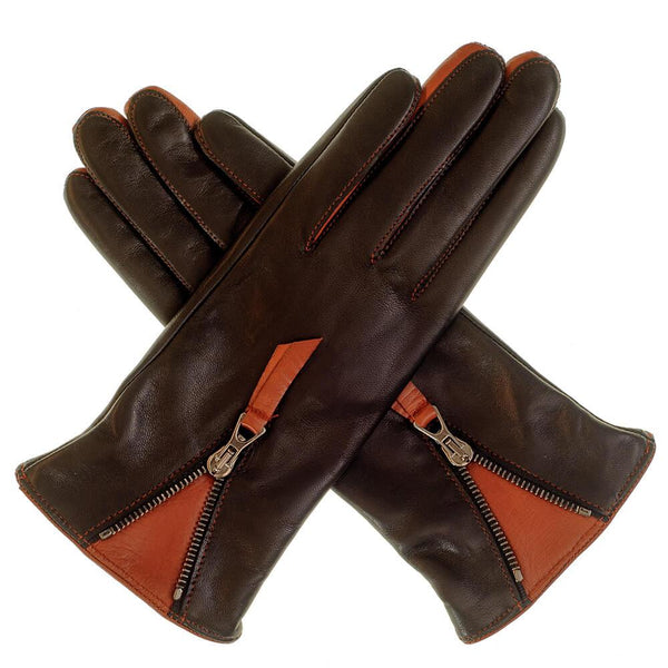 Ladies' Black and Tan Leather Gloves with Zip Detail – Cashmere Lined