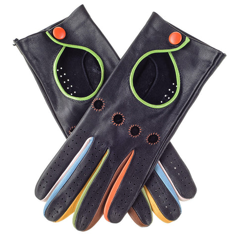 Black Leather Driving Gloves with Multicolour Detail