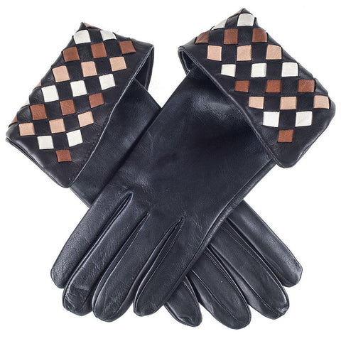 Black Harlequin Silk Lined Leather Gloves