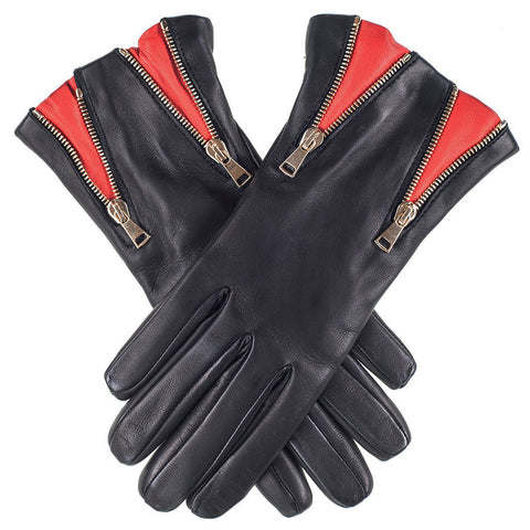 Double Zip Black and Red Leather Gloves