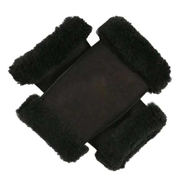 Black Sheepskin Fingerless Mittens