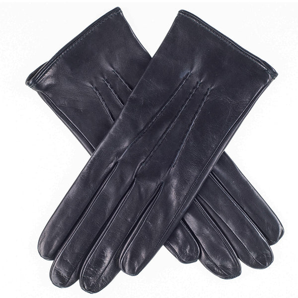 Ladies' Silk Lined Black Leather Gloves