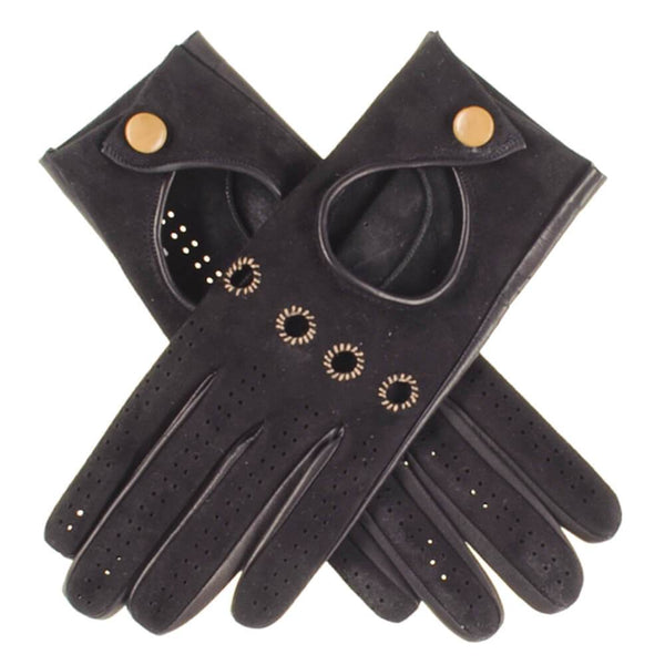 Ladies Black Suede and Leather Driving Gloves