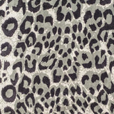 Black Leopard Print Scarf - Silk and Wool