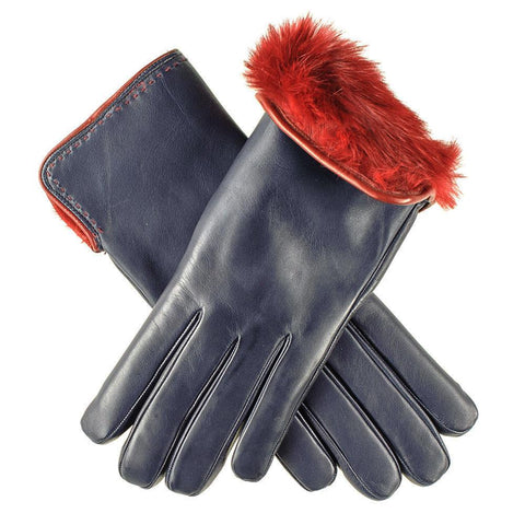 Navy and Claret Rabbit Fur Lined Leather Gloves