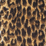 Brown Leopard Print Silk and Merino Wool Scarf