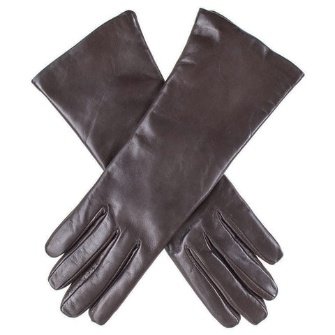 Dark Brown Cashmere Lined Leather Gloves