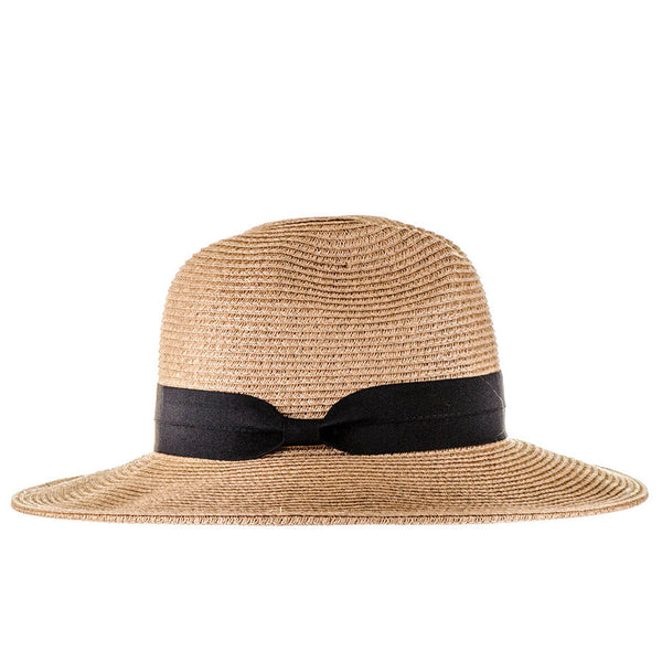 Black and Sand Straw Fedora