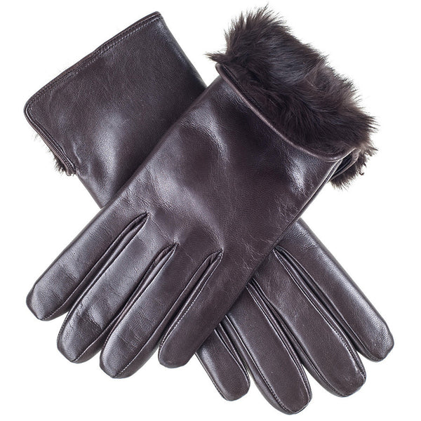 Dark Brown Rabbit Fur Lined Leather Gloves
