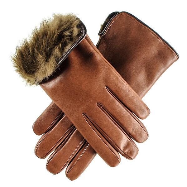 Ladies Brown Rabbit Fur Lined Leather Gloves