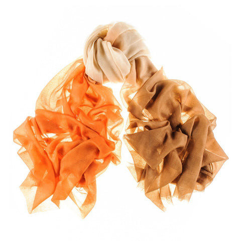 Caramel, Sand and Burnt Orange Gossamer Cashmere Shawl