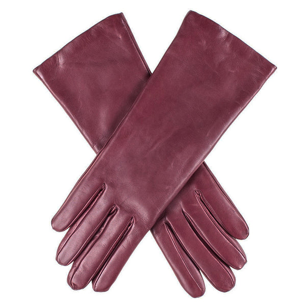 Burgundy Cashmere Lined Leather Gloves