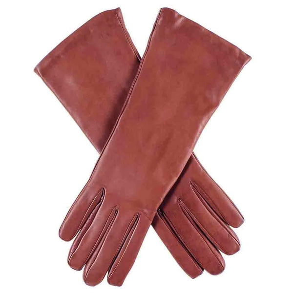 Ladies Cashmere Lined Cognac Brown Leather Gloves