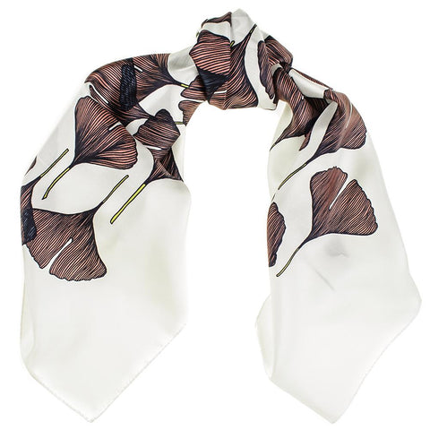 Mahogany and White Square Twill Silk Scarf