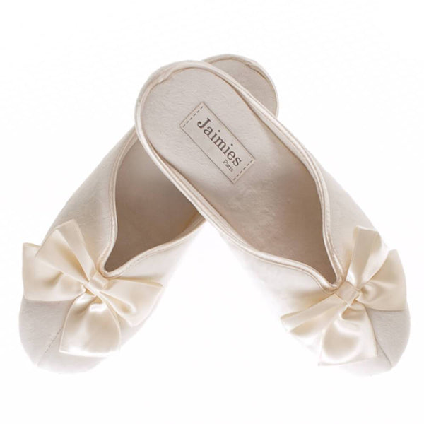 Ladies Ivory Velvet  Mule Slippers