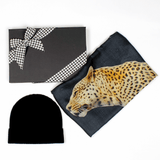 Leopard Print Cashmere and Silk Scarf and Cashmere Beanie Gift Set