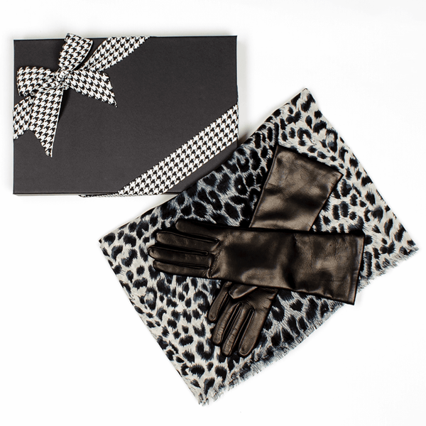 Leopard Print Cashmere and Silk Scarf and Cashmere Lined Leather Gloves Gift Set