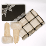 Check Cashmere Ring Shawl and Cream Rabbit Fur Cuff Gloves Gift Set