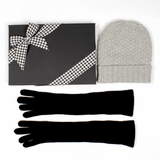 Grey Cashmere Beanie and Long Cashmere Gloves Gift Set