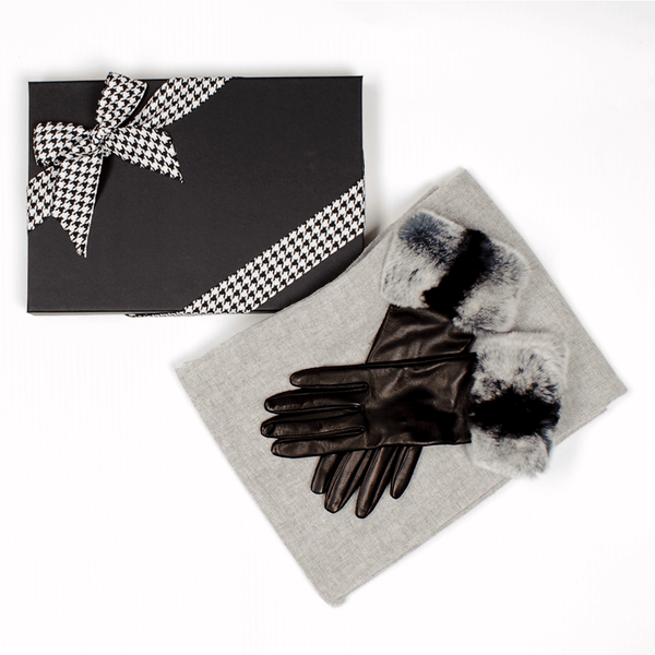 Chinchilla Style Rabbit Fur Cuff Leather Gloves and Dove Grey Gossamer Cashmere Shawl Gift Set