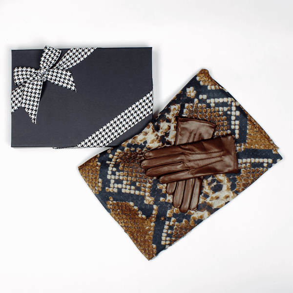 Snake Print Cashmere and Silk Scarf and Cashmere Lined Leather Gloves Gift Set