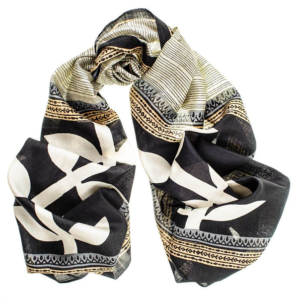Iona - Gold, Black and White Silk scarf