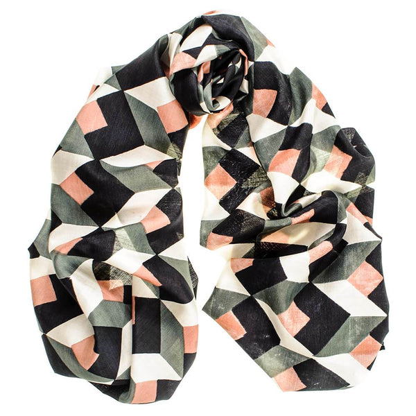 Carmen  – Muted Green, Coral and Black Silk Scarf