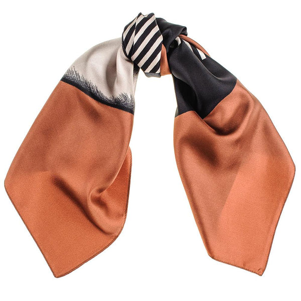 Grey and Chestnut Geometric Twill Silk Scarf