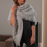 Oversize Cloud Grey Square Cashmere Shawl