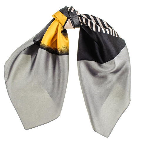 Grey and Gold  Geometric Twill Silk Scarf