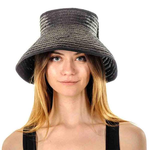 Black Bow Straw Sun Hat